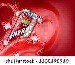 cherry cold energy drink in... | Shutterstock . vector #1108198910