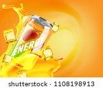 mango cold energy drink in... | Shutterstock . vector #1108198913