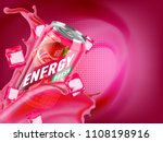strawberry cold energy drink in ... | Shutterstock . vector #1108198916