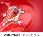 cranberry cold energy drink in... | Shutterstock . vector #1108198919