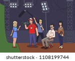 shooting a movie or a tv show.... | Shutterstock . vector #1108199744