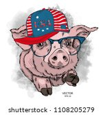 painted funny pig in hat with... | Shutterstock .eps vector #1108205279