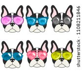 french bulldogs with sunglasses ... | Shutterstock . vector #1108211846