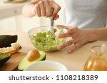 woman making nourishing mask... | Shutterstock . vector #1108218389