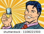 happy man and a vodka shot. pop ... | Shutterstock .eps vector #1108221503