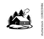 wooden log cabin house in the...   Shutterstock .eps vector #1108223486