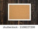 empty cork board with wooden... | Shutterstock . vector #1108227200