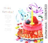 Colorful Birthday Cake Isolated ...