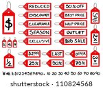 handwritten sale tags | Shutterstock . vector #110824568