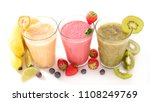fruit smoothie on white... | Shutterstock . vector #1108249769