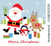 santa  reindeer and penguin... | Shutterstock .eps vector #1108252529