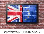 smart tv with brexit wallpaper  ... | Shutterstock . vector #1108253279