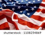 closeup of american usa flag ... | Shutterstock . vector #1108254869