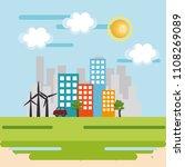 cityscape scene eco friendly | Shutterstock .eps vector #1108269089