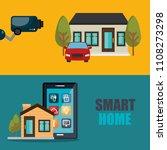 smartphone controlling smart... | Shutterstock .eps vector #1108273298
