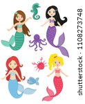 mermaids princess and aquatic... | Shutterstock .eps vector #1108273748