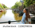 portrait of traveler girl with... | Shutterstock . vector #1108298036