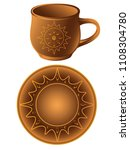 pottery. a cup and a saucer... | Shutterstock .eps vector #1108304780