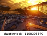 apocalypse sunset landscape. 3d ... | Shutterstock . vector #1108305590