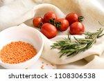 fresh cherry tomatoes  garlic... | Shutterstock . vector #1108306538