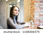young beautiful lady with blond ...   Shutterstock . vector #1108306574
