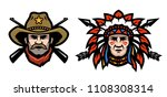 head of cowboy and indian.   Shutterstock . vector #1108308314