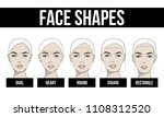 set of vector face shapes. oval ... | Shutterstock .eps vector #1108312520
