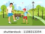 cartoon father plays football...   Shutterstock .eps vector #1108313354
