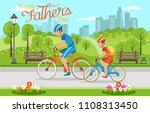 cartoon father with son riding... | Shutterstock .eps vector #1108313450