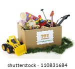 a box with a sign for christmas ... | Shutterstock . vector #110831684