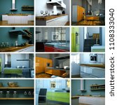 3d illustration set of kitchens ... | Shutterstock . vector #1108333040