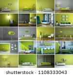 set of sofas in modern green... | Shutterstock . vector #1108333043
