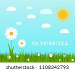 spring green grass and flowers...   Shutterstock . vector #1108342793