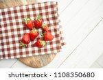 strawberry berries napkin...   Shutterstock . vector #1108350680