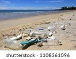plastic pollution on beach.... | Shutterstock . vector #1108361096
