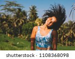smiling happy girl with jungle... | Shutterstock . vector #1108368098