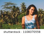 smiling happy girl with jungle... | Shutterstock . vector #1108370558