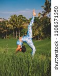 young woman practice yoga... | Shutterstock . vector #1108371350