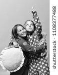 girls in pajamas. girls with... | Shutterstock . vector #1108377488