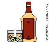 color tequila liquor bottle and ... | Shutterstock .eps vector #1108377719