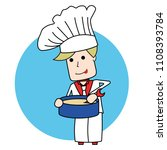 blonde chef in a tie stirring a ... | Shutterstock .eps vector #1108393784