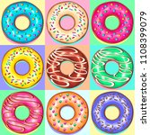 set of 9 colorful punchy pastel ... | Shutterstock .eps vector #1108399079