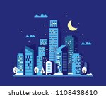 night cityscape in flat style.... | Shutterstock .eps vector #1108438610
