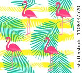flamingo pattern with palm... | Shutterstock .eps vector #1108447520