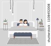 modern bedroom interior. couple ... | Shutterstock .eps vector #1108452008