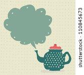 retro doodle teapot with... | Shutterstock .eps vector #110845673