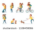 funny situations of a boy and a ... | Shutterstock .eps vector #1108458086