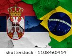 flags of serbia and brazil | Shutterstock . vector #1108460414