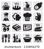 vector black kitchen icons set... | Shutterstock .eps vector #110846270