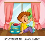 illustration of a boy with a... | Shutterstock .eps vector #110846804